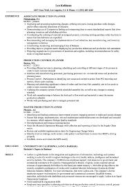 Planner Production Resume Samples Velvet Jobs
