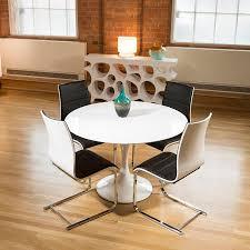 Round Kitchen Table White Tulip Style Round Dining Table White Gloss 4 Black White