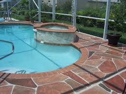... Casual Round Pool Deck Plans For Your Garden Exterior : Lovely Brown  Ceramic Tile Flooring Pool ...