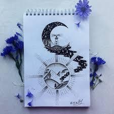тату природа горы небо татуировка эскиз рисунки цветы космос