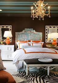 Turquoise And Brown Bedroom Idea With The Touch Of Orange And Zebra Print