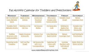 Fall Lesson Plans For Toddlers Fall Activity Calendar For Preschoolers And Toddlers Tales Of