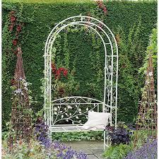 english metal garden rose arch arbour bench by gardman