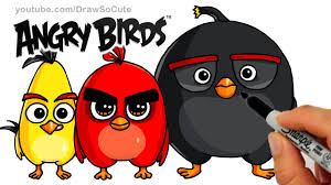 angry birds drawing for kids. Contemporary For How To Draw ANGRY BIRDS Movie U2013 Red Chuck And Bomb Bird Step By Cute  Easy Kids YouTube Intended Angry Birds Drawing For A