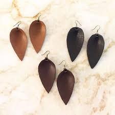 leather leaf teardrop earrings joanna gaines brown caramel black joanna gaines jewelry fixer upper magnolia zia