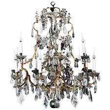 antique french gilt and rock crystal chandelier attributed to maison baguès for