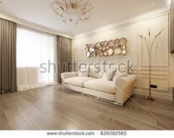 beige living room. Modern Classic Beige Living Room Interior Design With Large Sofa And Fireplace Gold T