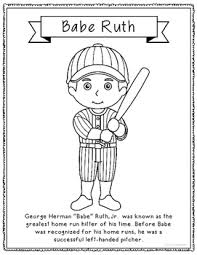 Small Picture Babe Ruth Baseball Coloring Page or Poster with Mini Biography