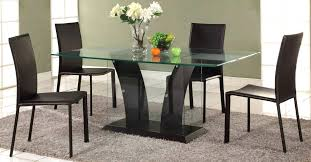 glass top dining set room table with base and four chairs metal sets