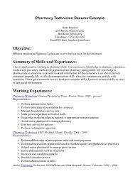 Pharmacy Technician Objective For Resume Gallery Creawizard Com