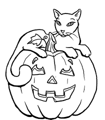 Pumpkin Halloween Black Cat Coloring Pages For Kids Hallowen And ...