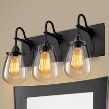 farmhouse vanity lights. Tear Drop Glass Vanity Light - 3 Farmhouse Lights H