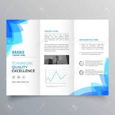 Brochure Trifold Template Free Trifold Brochure Template Design With Abstract Blue Shapes