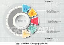 Chart Paper Presentation Vector Illustration Five Topics Colorful Half Pie Chart 3d