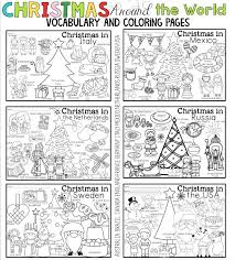 Our mazes for kids (one for each month of the year!) have been a big hit in the past, so here is a whole new set of 6 printable christmas mazes just in time for the holidays! Christmas Around The World Coloring Pages And Vocabulary Posters Christmas Coloring Pages Christmas Teaching Vocabulary Posters