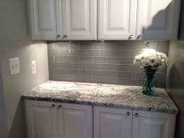 white tile kitchen countertops. Grey Glass Subway Tile Backsplash And White Cabinet For Small Space Kitchen Countertops O