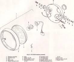 original suzuki ts tc tm forum • slideshow for suzuki tc100 manual 16 suzuki tc100l 1974 headlamp assembly exploded diagram date 12 29 2012