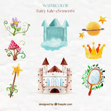 Elements Of A Fairy Tale Cute Watercolor Castle And Fairy Tale Elements Vector Free Download