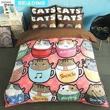 cat bedding twin home textile cat bedding set lovely animals bed linen cartoon duvet cover pillowcase twin full queen king size baby kids girl red white and