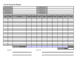 Free Travel Expense Report Template Free Printable Travel Expense Report Business Forms Sample