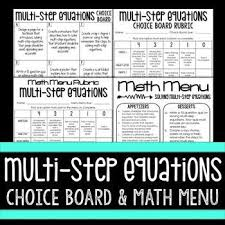 multi step equations choice board and