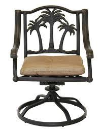 palm tree outdoor patio 4 swivel rocker dining chairs dark bronze cast aluminum walnut cushions