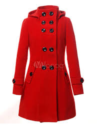 hooded wool coat women s double ted red long peacoat for