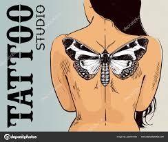 Tattoo Studio Nápis žena S Butterfly Tetování Vektor Butterfly