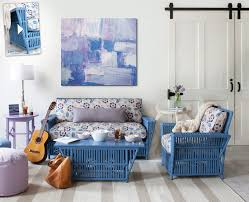 Living Room Furniture Pieces Painted Blue Wicker Sofa And Chair With Coffee Table In The Living