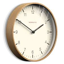 large round light wood wall clock image two