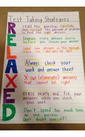 Relaxed Test Taking Strategy Anchor Chart Schoolyard Blog