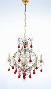 italian murano red glass drops chandelier 1950s with four lights in excellent condition for