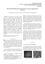 Pdf The Potential Of Recycled Ceramic Waste As Coarse