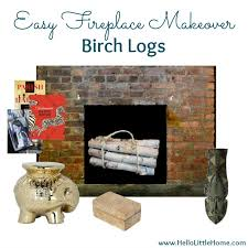 fireplace makeover birch logs