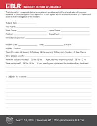 Copy Of Incident Report Incident Report Worksheet