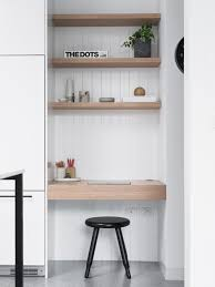 home office white. Example Of A Large Minimalist Built-in Desk Concrete Floor And Gray Home Office White