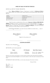 Sale Of Car Contract Car Purchase Contract Form Vehicle Sale Sample Used Template Sell