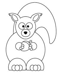 Disegno Di Scoiattolo Dei Cartoni Animati Con Ghianda Da Colorare