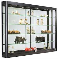 wall retail case with lights black