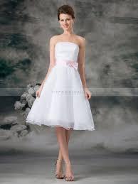 knee length organza over satin a line wedding dress with bow sash