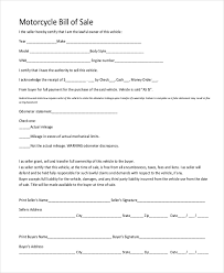 Free 6 Sample Motorcycle Bill Of Sale Forms In Pdf Doc