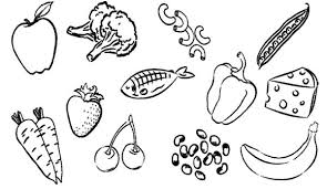 Coloring with vegetables and fruits. Type Healthy Food For Eating Coloring Pages Coloring Sun