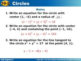 notes 1 write an equation for the circle with center 1 5