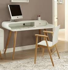 excellent vega retro style computer desk in white wood veneer ash wood with regard to white and wood desk popular