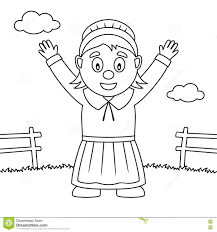 Thanksgiving Pilgrim Girl Coloring Pages Printable Coloring Page