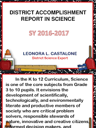 Accomplishment Report In Science | Science | Cognition