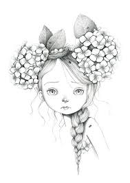 Portret Meisje Bloemen Wild Coloriage In 2019 Pencil Drawings