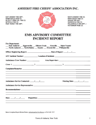 Fillable Online Amherst Ny Ems Advisory Committee Incident
