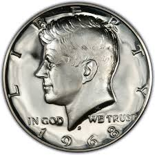 1967 Kennedy Half Dollar Value Chart 1968 Kennedy Half Dollar Values And Prices Past Sales