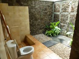 ... easy outside bathroom design idea with beige tiles and stone wall ...